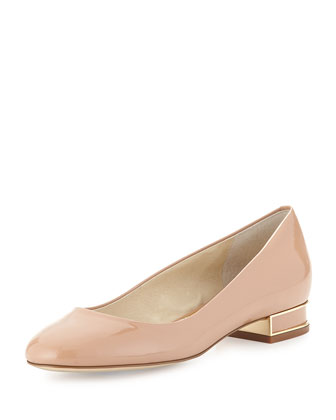 Joy Patent Block-Heel Pump, Dark Nude