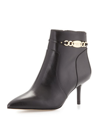 Lainey Leather Chain Bootie, Black