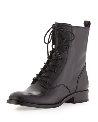 Norwood Lace-Up Leather Boot, Black