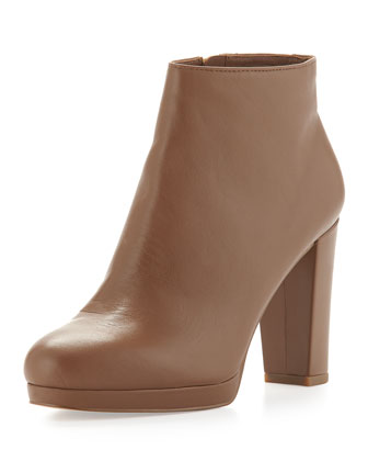 Sammy Leather Ankle Boot, Dark Caramel