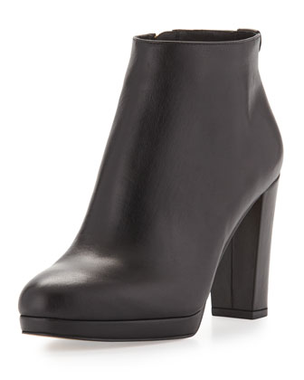Sammy Leather Ankle Boot, Black
