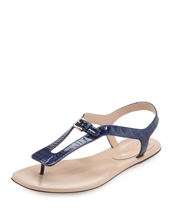 Embossed Leather Slingback Sandal, Navy