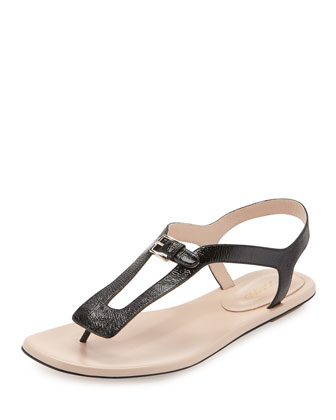 Textured Leather Slingback Sandal, Black