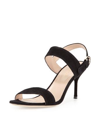 Suede Slingback Sandal, Black