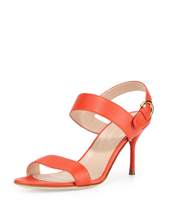 Leather Slingback Sandal, Coral