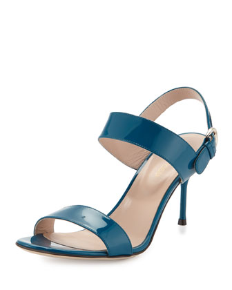 Patent Leather Slingback Sandal, Blue