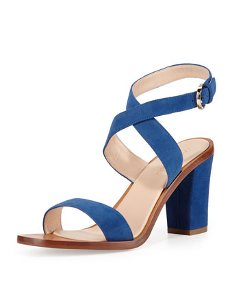 Strappy Suede Sandal, Cobalt