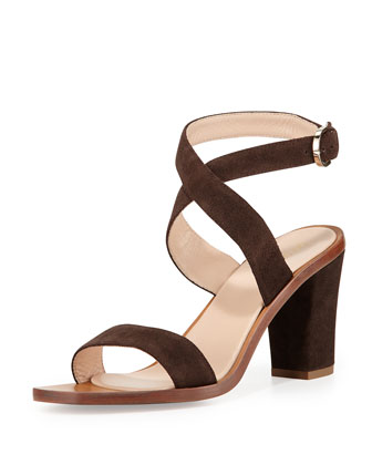Strappy Suede Sandal, Brown