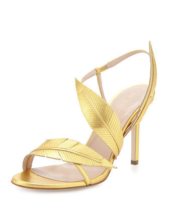 Strappy Leather Sandal W/Leaf Detail, Gold