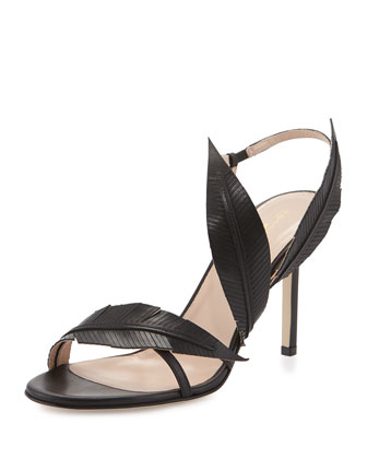Strappy Leather Sandal W/Leaf Detail, Black