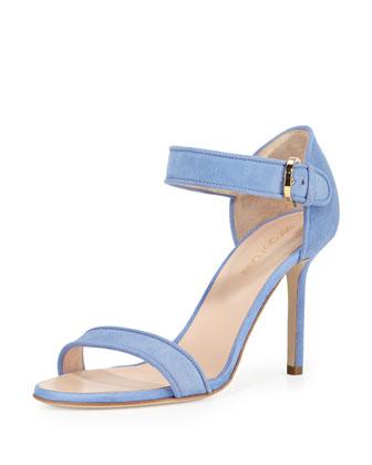 Suede Closed-Heel Sandal, Periwinkle