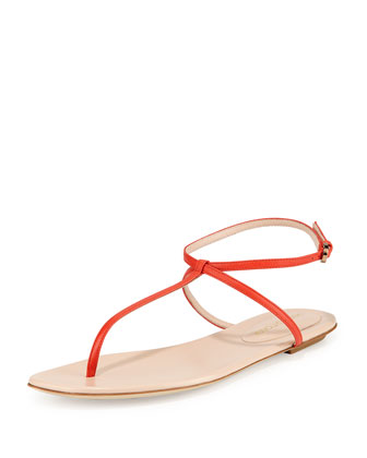 Skinny-Strap Leather Thong Sandal, Coral