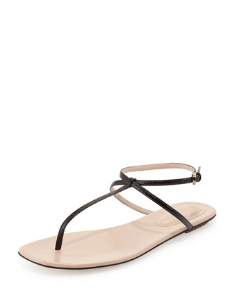 Skinny-Strap Leather Thong Sandal, Black