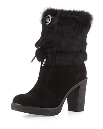 Hawthorne Fur-Cuff Boot, Black