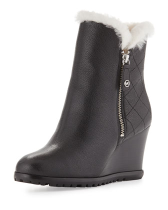 Whitaker Shearling Fur-Lined Wedge Boot, Black