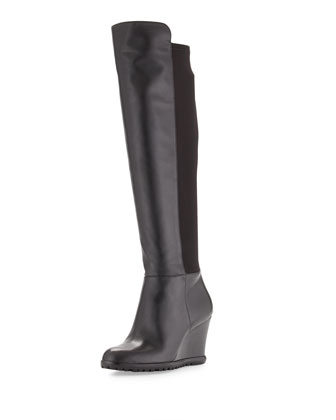 Woods Tall Wedge Boot, Black