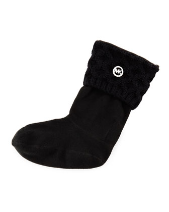 MK Cable-Knit Boot Sock, Black