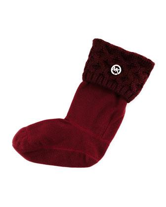 MK Cable-Knit Boot Sock, Merlot