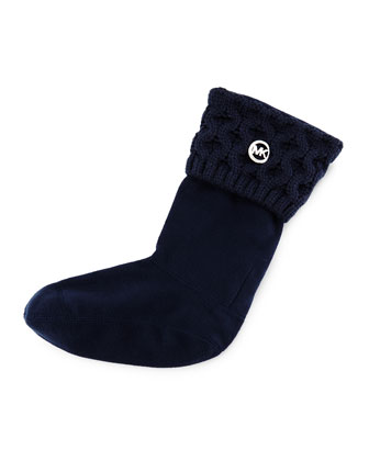 MK Cable-Knit Boot Sock, Navy