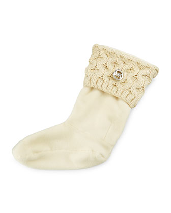 MK Cable-Knit Boot Sock, Vanilla