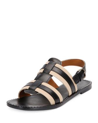 Leather & Canvas Flat Sandal, Black/Khaki