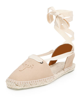 Palm Tree Canvas Ankle-Wrap Espadrille, Chino