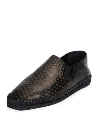 Printed Leather Espadrille, Black/Brass
