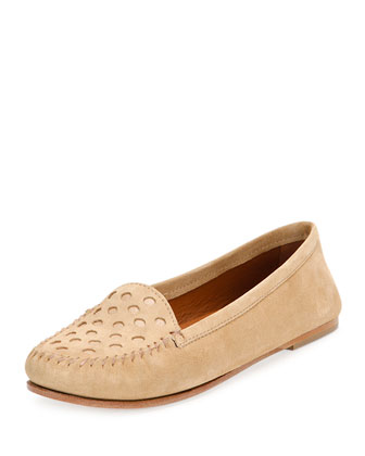 Perforated Nubuck Loafer, Khaki