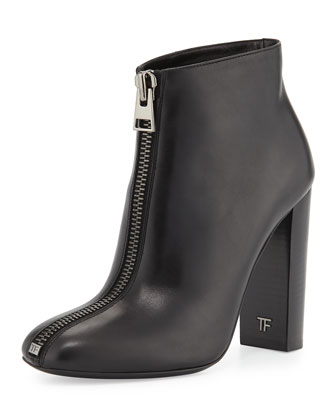 Front-Zip Leather Bootie, Black