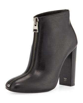 Front-Zip Leather Bootie, Black