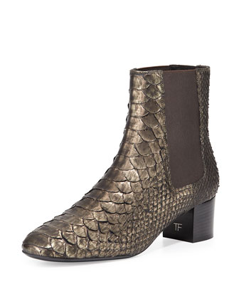 Python Chelsea Boot, Olive