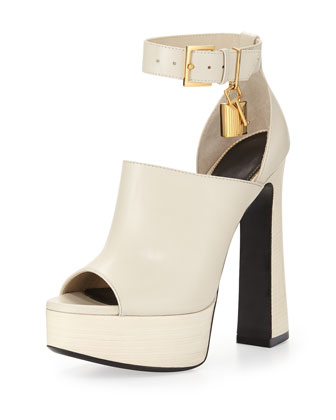 Platform Leather Ankle-Wrap Sandal, White