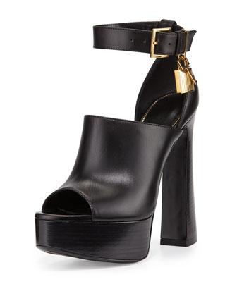 Platform Ankle-Lock Sandal, Black