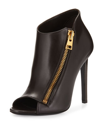Open-Toe Side-Zip Bootie, Brown