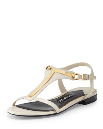 Metallic T-Strap Sandal, White
