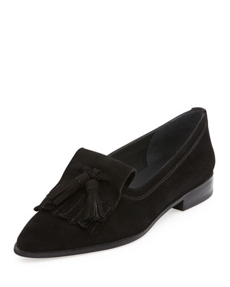 Avatass Suede Tassel Loafer, Black