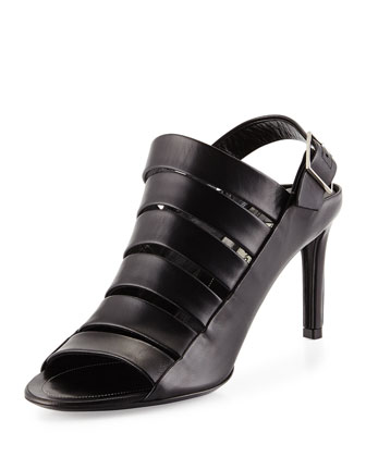 Leather Cage-Front Sandal, Black