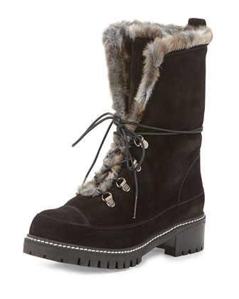 Luge Faux-Fur Lace-Up Boot, Black (Nero)