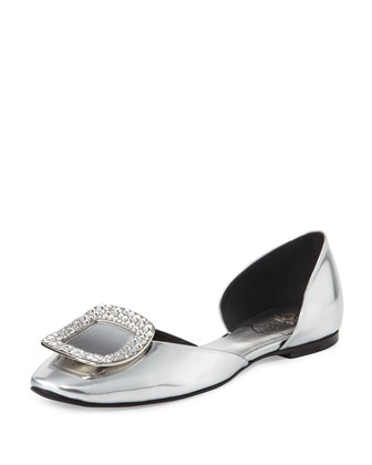 Ballerine Chips d'Orsay Flat, Mirrored Silver