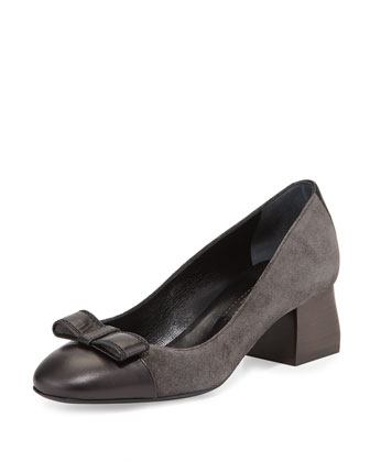 Suede Cap-Toe Bow Pump, Gray
