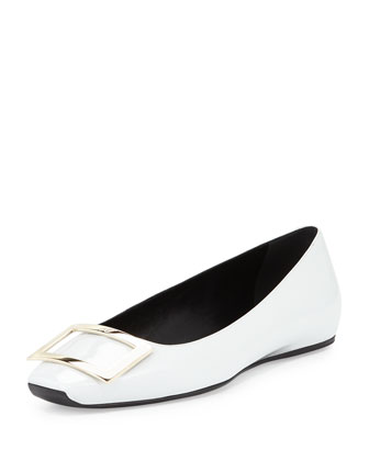 Ballerine Quadrata Trompette Flat, Light Gray