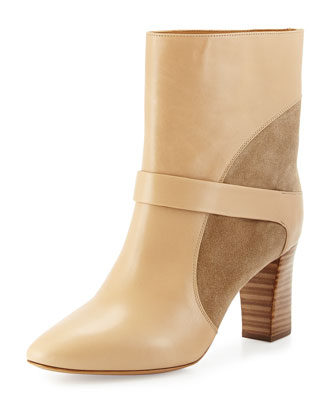 Gianna Leather Colorblock Boot, Taupe