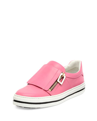 Leather Side-Zip Sneaker, Bubble Gum Pink