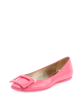 Gommette Patent Leather Flat, Bubble Gum Pink