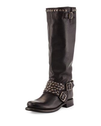 Jenna Studded Tall Moto Boot, Black