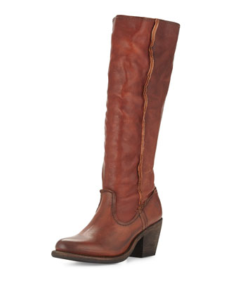 Leslie Artisan Tall Leather Boot, Whiskey