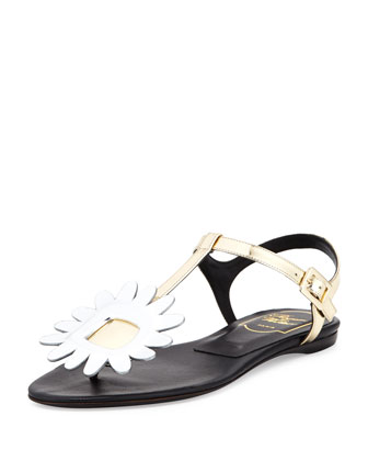 Thong Chips Flower Sandal, Golden/Silvertone