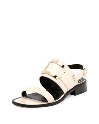 Skyscraper Leather City Sandal, White