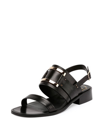 Skyscraper Leather City Sandal, Black