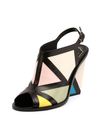 Skyscraper Colorblock Leather Sandal, Multi